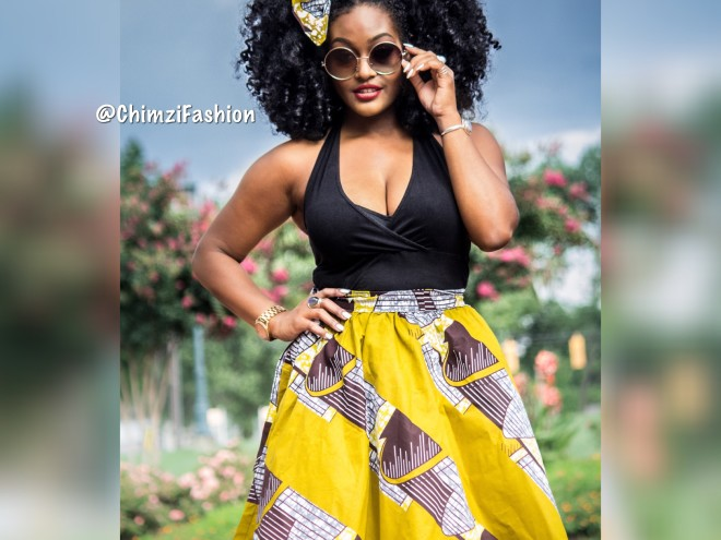 High Waist Ankara Midi Skirts